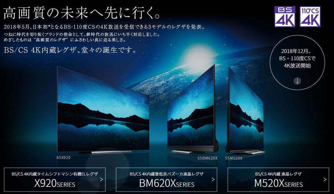 BS/CS 4K内蔵 レグザ