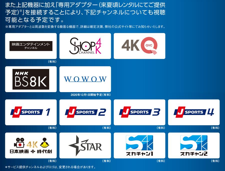 BS・110度CS左旋4K・8K放送チャンネル